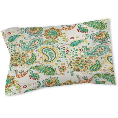 Aqua Bloom Paisley Sham Color: White, Size: Twin
