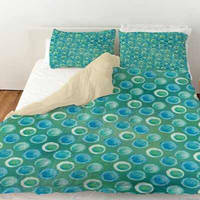Aqua Bloom Dots Duvet Cover Size: Twin