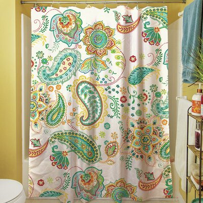 Aqua Bloom Paisley Shower Curtain Color: White