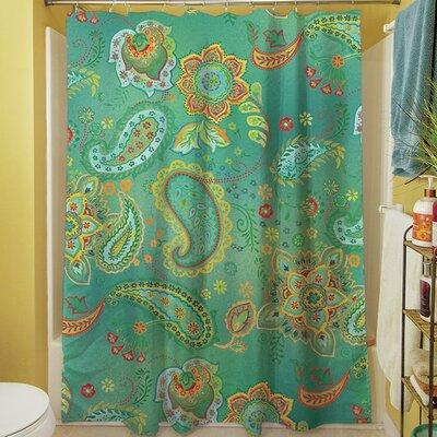Aqua Bloom Paisley Shower Curtain Color: Blue