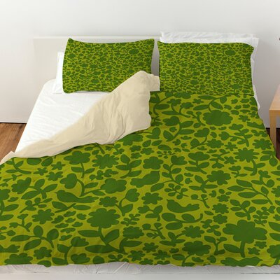 Ambrose Bird Duvet Cover Size: King, Color: Green