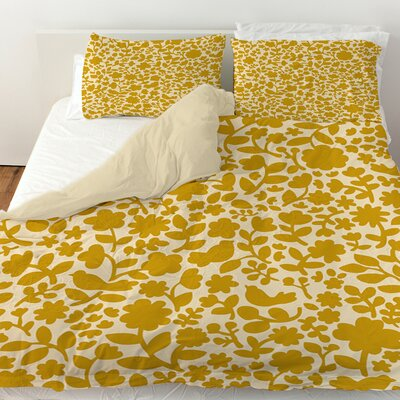 Ambrose Bird Duvet Cover Size: Twin, Color: Yellow