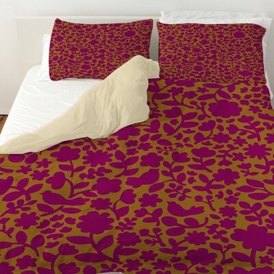 Ambrose Bird Duvet Cover Size: Twin, Color: Fuchsia