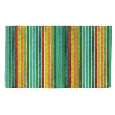Aqua Bloom Stripes Area Rug Rug Size: 4 x 6