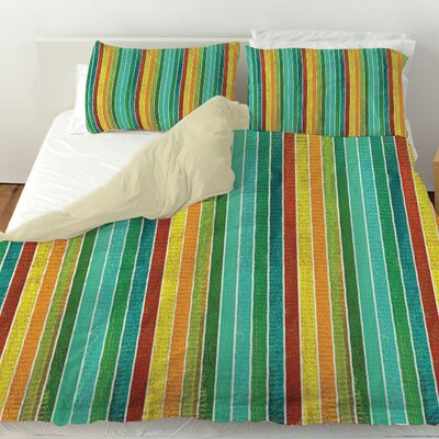 Aqua Bloom Stripes Duvet Cover Size: Twin