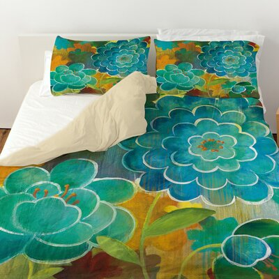 Aqua Bloom Blooms Duvet Cover Size: Twin