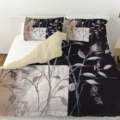 African Leaf Abstract Duvet Cover Size: King