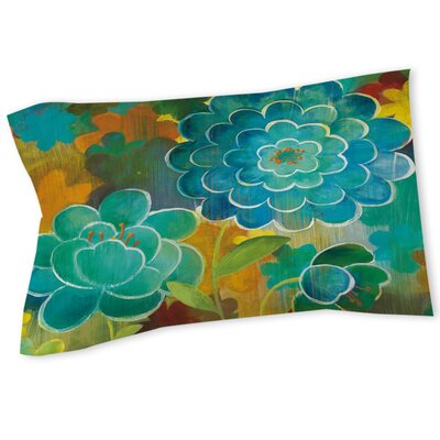 Aqua Bloom Blooms Sham Size: Queen/King