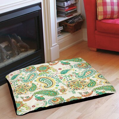 Aqua Bloom Paisley Pet Bed Size: 28 L x 18 W, Color: White