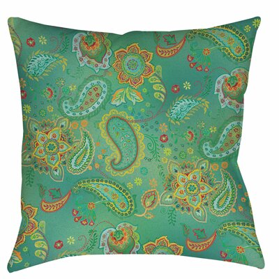 Aqua Bloom Paisley Indoor/Outdoor Throw Pillow Size: 16 H x 16 W x 4 D, Color: Blue