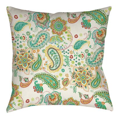 Aqua Bloom Paisley Indoor/Outdoor Throw Pillow Size: 18 H x 18 W x 5 D, Color: White