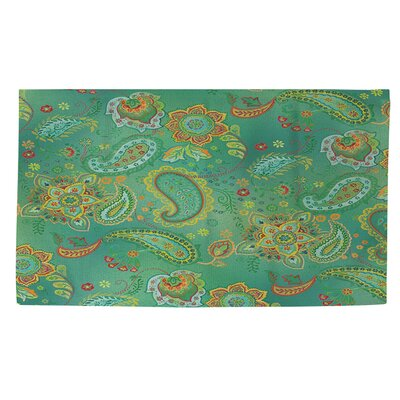 Aqua Bloom Green Paisley Area Rug Rug Size: 2 x 3
