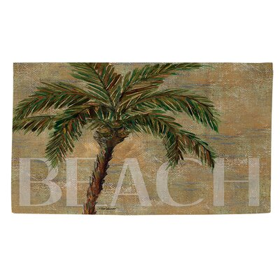Beach Palm Green/Sand Area Rug Rug Size: 2 x 3