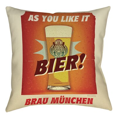 Bier Brau Munchen Indoor/Outdoor Throw Pillow Size: 18 H x 18 W x 5 D
