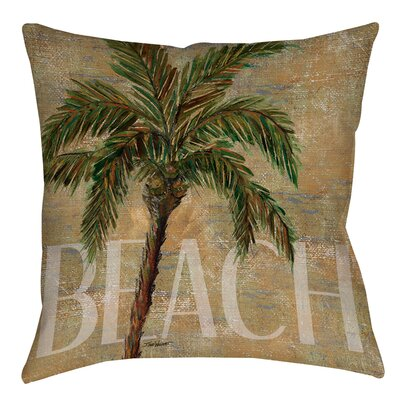 Beach Palm Printed Throw Pillow Size: 16 H x 16 W x 4 D