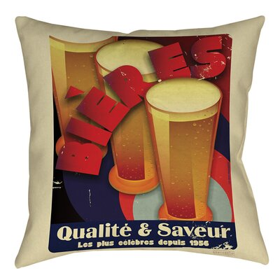 Bieres Qualite and Saveur Indoor/Outdoor Throw Pillow Size: 20 H x 20 W x 5 D