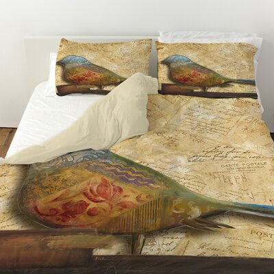 Bird of Collage 1 Duvet Cover Size: Twin