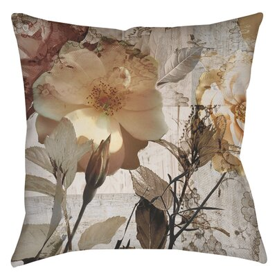 Square Floral Indoor/Outdoor Throw Pillow Size: 16