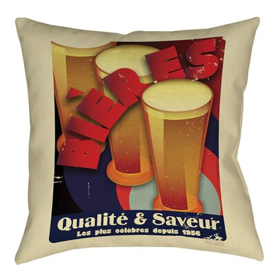 Bieres Qualite and Saveur Printed Throw Pillow Size: 16 H x 16 W x 4 D