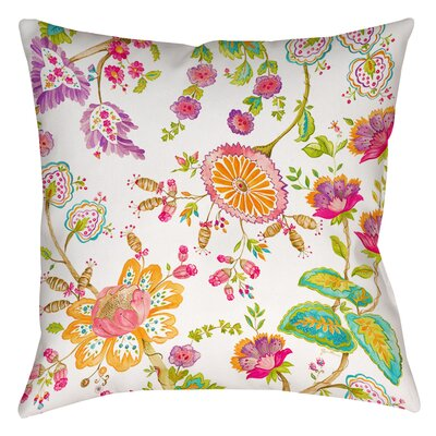 White Anima Printed Throw Pillow Size: 14 H x 14 W x 3 D