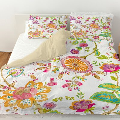 White Anima Duvet Cover Size: Queen
