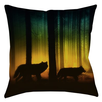 Tracking Wolves Indoor/Outdoor Throw Pillow Size: 18 H x 18 W x 5 D