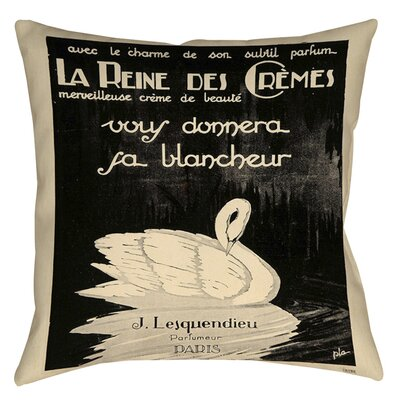 Swan Cremes Printed Throw Pillow Size: 14 H x 14 W x 3 D