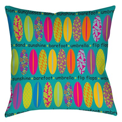 Surfs Up 1 Indoor/Outdoor Throw Pillow Size: 16 H x 16 W x 4 D