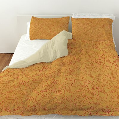 Zinnia Damask Duvet Cover Size: King