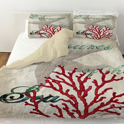 Treasures of the Sea Duvet Cover Size: Queen