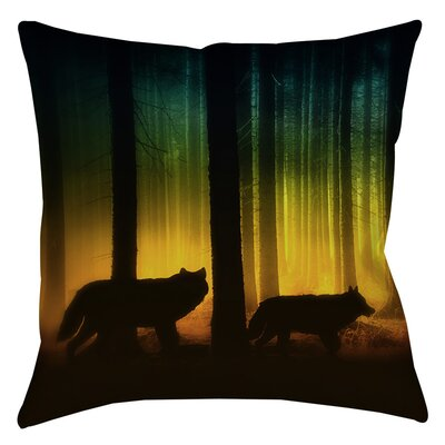 Tracking Wolves Printed Throw Pillow Size: 16 H x 16 W x 4 D