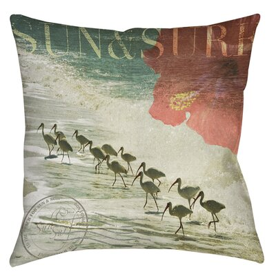 Sun and Surf Printed Throw Pillow Size: 16 H x 16 W x 4 D