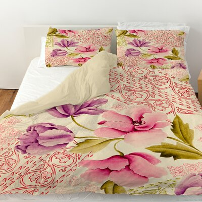Tulips and Lace Duvet Cover Size: Queen