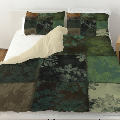 Velvet Patch Duvet Cover Size: King, Color: Green