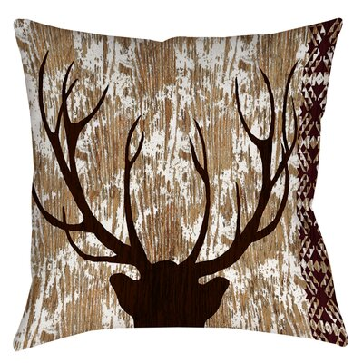 Printed Square Deer Throw Pillow Size: 16 H x 16 W x 4 D