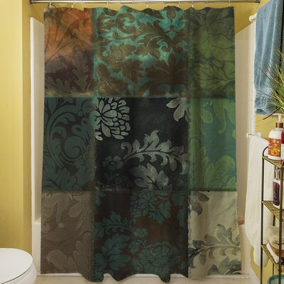 Velvet Patch Shower Curtain Color: Green