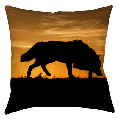 Wolf Silhouette Indoor/Outdoor Throw Pillow Size: 16 H x 16 W x 4 D