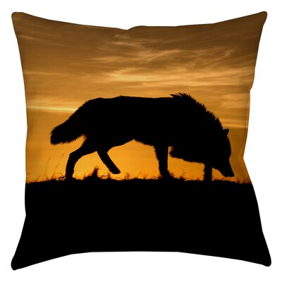 Wolf Silhouette Printed Throw Pillow Size: 16 H x 16 W x 4 D