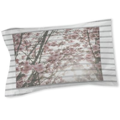 Cherry Blossom Stripes Sham Size: Queen/King