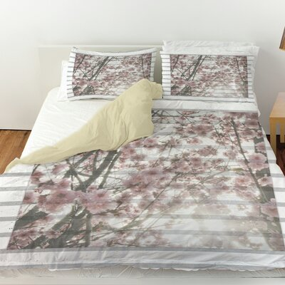 Cherry Blossom Stripes Duvet Cover Size: Queen