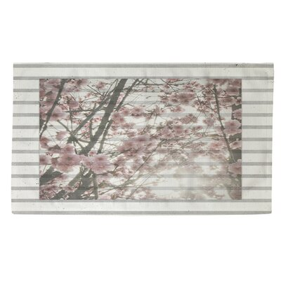 Cherry Blossom Pink/Grey Stripes Area Rug Rug Size: 2 x 3