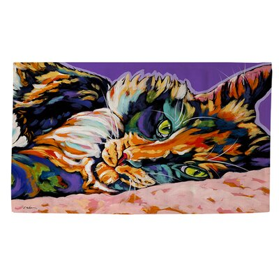 Calico Dreams Purple/Orange Area Rug Rug Size: 2 x 3