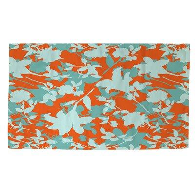 Chloe Floral 5 Orange/Blue Area Rug Rug Size: 2 x 3