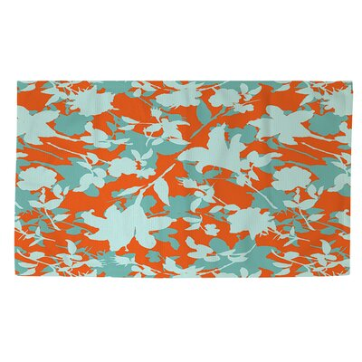 Chloe Floral 5 Orange/Blue Area Rug Rug Size: 4 x 6