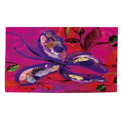 Butterfly Pink/Purple Area Rug Rug Size: 4 x 6