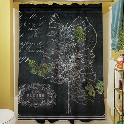 Chalkboard Botanical II Shower Curtain