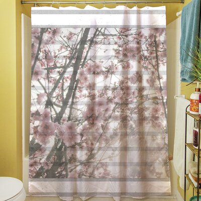 Cherry Blossom Stripes Shower Curtain