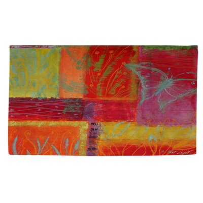 Butterfly Impressions Orange/Green Area Rug Rug Size: 2 x 3