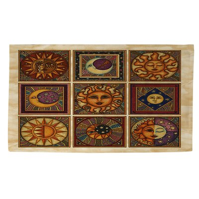 Celestial Squares Brown Area Rug Rug Size: 4 x 6