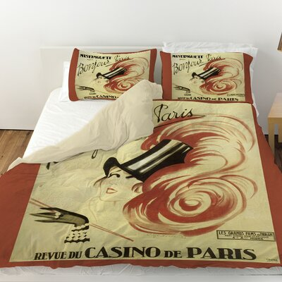 Bonjour Paris Duvet Cover Size: Queen